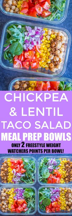 These Chickpea and Lentil Taco Salad Meal Prep Bowls are ready in under 30 minutes!  They're healthy, filling and delicious and so easy to make!  Prepare them on Sunday and have lunch ready for the next 4 days.  They're gluten free, vegetarian and vegan friendly.  Each bowl only has 2 Freestyle Weight Watchers points!!