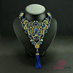 Blue Gold Soutache Necklace Soutache Jewelry Navy by OzdobyZiemi