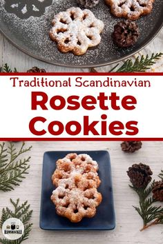 This traditional Scandinavian Rosette Cookie recipe is a great way to celebrate Norwegian or Swedish heritage, but more importantly, these crispy cookies are delicious. This holiday treat is special. New Year's Desserts, Cute Desserts, Christmas Desserts, Christmas Recipes, Holiday Recipes, Holiday Meals, Winter Recipes, Delicious Desserts, Rosettes Cookie Recipe