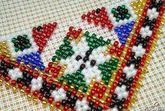 Hvordan sy med perler. – Vevstua Bull-Sveen Bead Embroidery Patterns, Hardanger Embroidery, Beaded Embroidery, Palestinian Embroidery, Plastic Canvas, Needlepoint, Cross Stitch, Beaded Bracelets, Beads