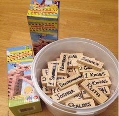 Para nuestra adoracion en familia, ideamos un juego de memoria muy divertido para ayudarnos a recordar el orden correcto de los nombres bíblicos.