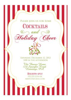 Red Green and Gold Holiday Party Invitation by Oohlalovely on Etsy, $36.00
