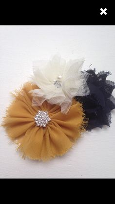 New to LaBellaRoseBoutique on Etsy: Mustard chiffon navy Shabby Flower Cream Tulle Flower on Clip baby toddler child teen women wedding flower girl pictures family pictures (8.00 USD)