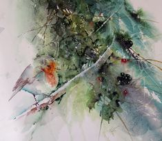 """""""The Christmas Robin"""" Original watercolour by Jean Haines"""