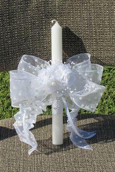 Wedding White Bead Flower Cross Decor Candle by mkhrcrochet1965