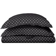 ExceptionalSheets Polka Dot Duvet Cover - 600 Thread Count Full /... ($67) ❤ liked on Polyvore featuring home, bed & bath, bedding, duvet covers, black, twin xl bedding, black pillow shams, black shams, extra long twin bedding and black bedding