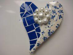 Vintage China Mosaic Heart Magnet Mosaics Broken China by thooker, $12.00