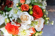 High contrast, orange and white wedding bouquet.