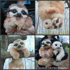 Baby Three-Toed Sloth - Handmade Poseable Creature by Heiditruth.deviantart.com on @DeviantArt