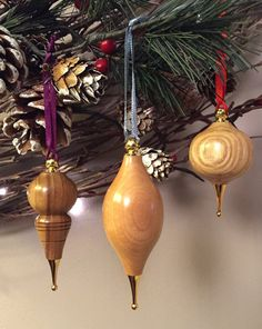 Christmas Tree Wooden Baubles Decorations.  Set of 3 - handturned.