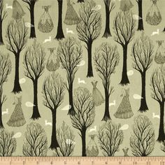 Cotton & Steel Spellbound Metallic Trees Sage from @fabricdotcom  Designed by Sarah Watts for Cotton & Steel, this cotton print fabric is perfect for quilting, apparel, and home decor accents. Colors include black, white, and safe with silver metallic accents.