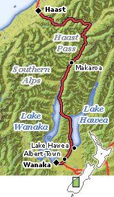 timed Driving Route:  S.I. Lake Wanaka, via Haast River (blue pools) to Franz Joseph
