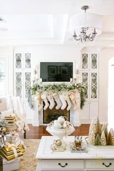 white-christmas-fireplace-with-fur-stockings