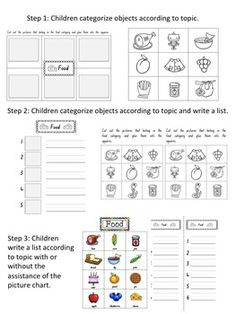BEGINNING WRITING: LIST WRITING. Structured activities for teaching young children to write lists.