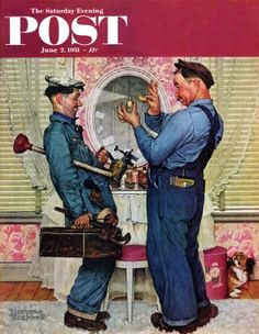 Plumbers by Norman Rockwell, June 2, 1950, The Saturday Evening Post.