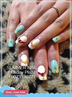 White turquoise gel nail Summer Nail, Holiday Plaza (McDonald's upstairs 3rd floor)  ☎️+6073336277 WhatsApp +60127242222 Instagram summernail_hp FaceBook Summer Nail Professional Nail Care