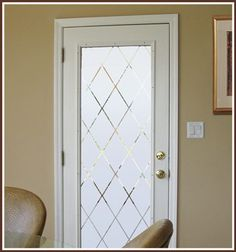 Decorative Etched Glass Door Film Orleans 32 x 74 Inches | Wallpaper For Windows