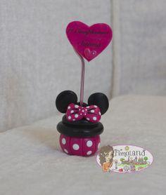 Portafoto cupcake minnie con cuore personalizzato per il primo compleanno, realizzato interamente a mano con paste sintetiche (Fimo)