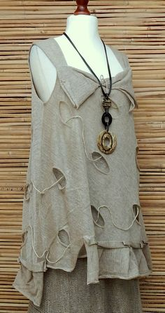 *ZUZA BART*DESIGN BEAUTIFUL QUIRKY 100% PURE LINEN LAGENLOOK LONG TUNIC*SIZE M-L