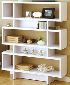 Shelves racks in the room are woody unusual.