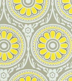 LOVE #Yellow & #Gray! Home Decor Print Fabric: @HGTV HOME Ring Around Lemonade