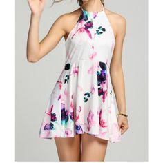 Mini robe blanche imprimé floral multicolore - bestyle29.com
