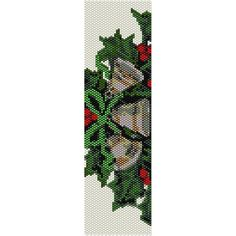 Holly and Bells Peyote Bead Pattern Bracelet by SmartArtsSupply