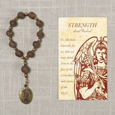 Michael Strength Decade Rosary with Card This thoughtful rosary and card set comes with a handcrafted rosary and a sturdy prayer card, both exc. Real Diamond Necklace, Diamond Cross Necklaces, St Michael Novena, Key Pendant, Cross Pendant, Anniversary Jewelry, Valentines Jewelry, Prayer Cards, Brilliant Diamond