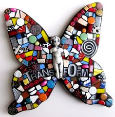 mosaic butterfly. stained glass butterfly.