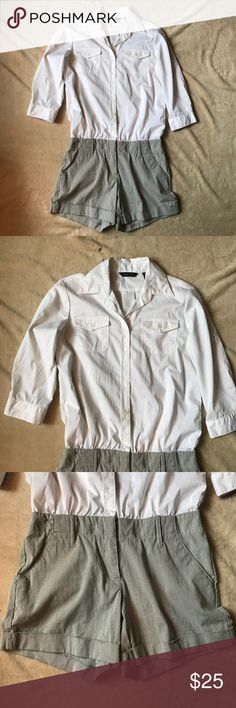 One piece New York & Company blouse and shorts One piece white button up long sleeve blouse with striped white and navy blue shorts in perfect condition New York & Company Tops Blouses
