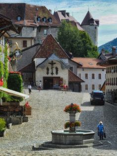 Gruyères-Ville, Gruyères, Switzerland - The lovely medieval town of...