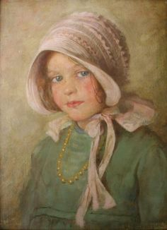 Lawrences Auctioneers WILLIAM HENRY MARGETSON (1861-1940) THE PRETTY PINK BONNET Traces of an indistinct signature, oil on canvas 37 x 27cm.