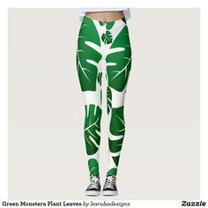 Shop Green Monstera Plant Leaves Leggings created by lesrubadesigns. Monstera Leaves, Plant Leaves, Leggings Fashion, Women's Leggings, Green Gifts, Look Cool, Body Types, Dressmaking, Things That Bounce