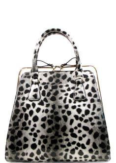 Faux Leather Glossy Leopard Fur Print Top Rail Zipper Closure Back Zip Pocket Detachable Shoulder Strap 11.5 (W) x 5 (D) x 8 (H)