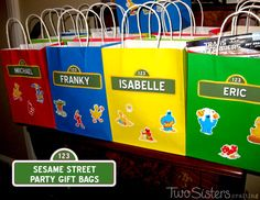Sesame Street Party Favors Gift Bags for a Sesame Street party by TwoSistersCrafting.com #SesameStreetParty #TwoSistersCrafting