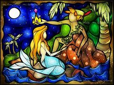 Stained glass art Peter Pan #StainedGlassMermaid
