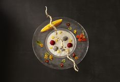 Coconut Tapioca Soup with Dragon Fruit Mango and Horned Melon.
