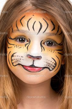 Kinder schminken Face Painting Tiger Royalty Free Stock Images - Image: 36842439 Your checking up sh Tiger Face Paint Easy, Tiger Face Paints, Tiger Makeup, Animal Makeup, The Face, Face And Body, Maquillage Halloween, Halloween Makeup, Animal Face Paintings