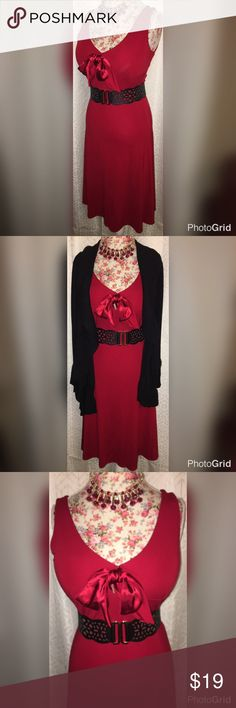 """VALENTINES DAY! DRESS/BELT/NECKLACE&EARRING MED VALENTINES SPECIAL DATE OUTFIT SET!! THIS IS A LISTING FOR A CASUAL CORNER V NECK SATIN BOW DRESS SIZE MEDIUM, WITH STRETCH!! IT IS 18"""" ACROSS THE CHEST AND 16"""" ACROSS THE WAIST AND 21"""" ACROSS THE HIPS (DRESS FLARES OUT AT BOTTOM)!! IT HAS A SATIN BOW AT THE BOTTOM OF THE V NECK! BELT  IS 2 1/2"""" WIDE, WITH GOLD CLASP IN FRONT! IT EXTENDS FROM 28"""" TO 35"""" LONG. NECKLACE AND EARRING SET IS A RED AND GOLD WITH PENDANTS HANGING FROM IT. NECKLACE IS…"""