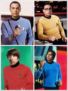 The Big Bang Theory characters as the crew of the Starship Enterprise. (In order from Left to right Spock- Sheldon Cooper James T Kirk- Leonard Hofstadter Scotty- Howard Wolowitz Leonard Bones McCoy- Rajesh Koothrapali) The Big Bang Theory Fans Site