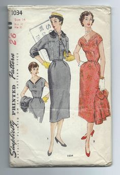"""Vintage Simplicity 1034 1950's WIGGLE DRESS AND JACKET Size 14/32"""" bust"""