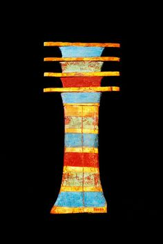 Djed Pillar amulet, a symbol of divine royal stability, and linked to Osiris' backbone and resurrection, most commonly placed on mummies.