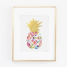 Pineapple Art Print Digital Art Watercolor Art by PennyJaneDesign