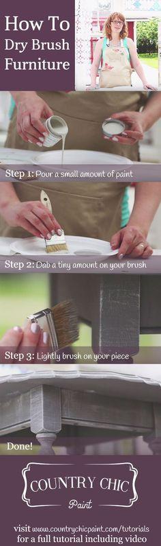 How to dry brush furniture | dry brushing tutorial {Country Chic Paint} #countrychicpaint - countrychicpaint.com/tutorials