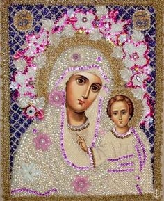 A Russian Orthodox icon of Our Lady of Kazan.