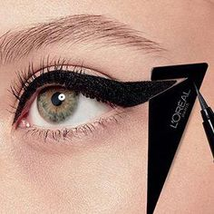 Infallible Flash Cat Waterproof Eyeliner - L'Oréal Paris #EyelinerTutorial Cat Eyeliner Stencil, Cat Eye Eyeliner, Cat Eye Makeup, Natural Eye Makeup, Eyeliner Waterline, Eyeliner Pencil, Eye Liner, Eyebrow Makeup, Beauty Makeup