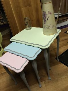Vintage nest of tables hand painted in Frenchic by MollieJVintage