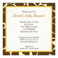 Twin Boys Giraffe Square Baby Shower Invitation