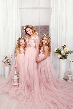 Pink blush Mother daughter matching train lace dress for photoshoot Flared lace dress princess dress Tulle dress Photo session floor length, Diy Abschnitt, Mommy Daughter Dresses, Mother Daughter Photos, Mother Daughter Dresses Matching, Mother Daughter Fashion, Mom Daughter, Baptism Dress For Mom, Robes Tutu, Tulle Dress, Dress Skirt