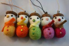 Felt ball acorn snowman Christmas ornament set of 5 pink and yellow mix